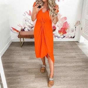 Promesa red/coral semi-sheer front knot dress